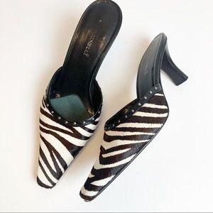 A. Marinelli hair hide zebra striped mules heeled